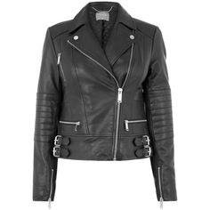 Oasis Leather Biker Jacket (€140) ❤ liked on Polyvore featuring outerwear, jackets, short jacket, leather biker jacket, motorcycle biker jacket, genuine leather jackets and moto biker jacket