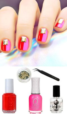 Pink + Red Colorblock Nail Art Kit