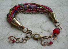 Boho Hearts Macrame Bracelet, Beaded Bracelet, Hand-Knotted with Bronze Hearts, Beaded Bracelet OOAK. $40.00, via Etsy.