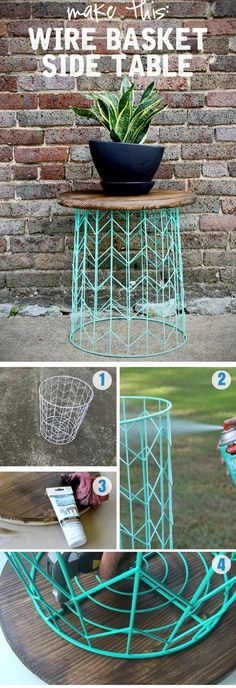 Side table from a wire basket – a 20 minute DIY idea Make a statement in your home without breaking the bank. This DIY table is so easy, but adds a fun design element with minimal DIY skills! Make a statement in DIY Pallet Projects Easy DIY Tables You Ca Diy Home Decor Rustic, Easy Home Decor, Handmade Home Decor, Cheap Home Decor, Diy Decorations For Home, Modern Decor, Easy Diy Room Decor, Diy Home Décor, Home Craft Ideas