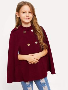 Girls Double Button Solid Cape Coat  fashion  clothing  shoes  accessories   womensclothing 8cc6c700326d