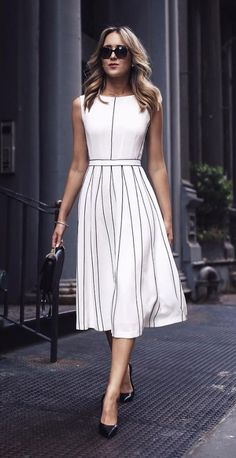 30 Trendy Ways To Wear Dresses For Work - White Dresses - Ideas of White Dresses - amazing outfit idea / white midi dress bag heels Casual Work Outfits, Work Casual, Casual Dresses, Fashion Dresses, Dresses For Work, Summer Outfits, Bride Dresses, Casual Summer, Boho Outfits