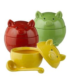 Look what I found on #zulily! Pig Condiment Bowl & Ladle - Set of Three by Grasslands Road #zulilyfinds