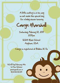 rkDesigns: Little Monkey Baby Shower invitation