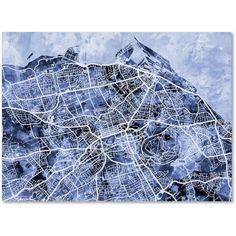 Trademark Fine Art Edinburgh Street Map B Canvas Art by Michael Tompsett, Size: 18 x 24, Blue
