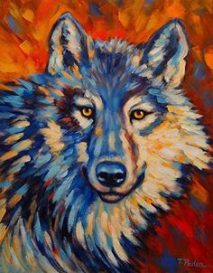 """Blue Wolf"" by Theresa Paden, Acrylic painting on canvas ~ 20"" x 16"""