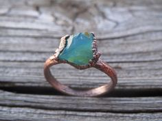 Peruvian Blue Opal Electroformed Copper Ring. Organic Rustic Unique Jewelry Gift. Made to Order in your size;raw blue opal ring
