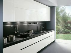 67 Amazing Modern and Contemporary Kitchen Cabinets Design Ideas - Page 35 of 70 Kitchen Room Design, Kitchen Cabinet Design, Kitchen Layout, Home Decor Kitchen, Interior Design Kitchen, Small Kitchen Set, Kitchen Sets, Contemporary Kitchen Cabinets, Contemporary Kitchen Design