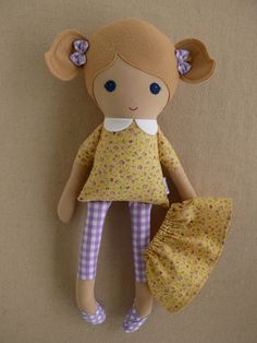 Fabric Doll Rag Doll Blond Haired Girl in Pale by rovingovine