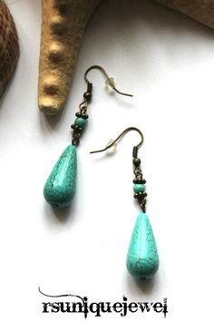 Turquoise Earrings Bronze Earrings Drop Earrings by rsuniquejewel Blue Earrings, Turquoise Earrings, Dangle Earrings, Vintage Looks, Dangles, Bronze, Creative, Handmade, Stuff To Buy