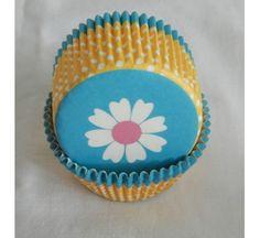 100 white daisy blue bottom yellow dot wall cupcake liners