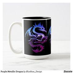 Purple Metallic Dragon Two-Tone Coffee Mug Beer Mugs, Coffee Mugs, Artwork Design, Photo Mugs, Colorful Backgrounds, Color Pop, Create Your Own, Coasters, Best Gifts
