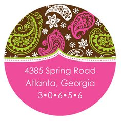 Personalized Pink Paisley Print on Brown Round Address Labels