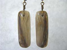 Medium Length, Peanut Wood Jasper (Petrified Wood) Stone Rectangle Slab Dangle, Antique Brass Wire Wrapped Earrings, Leverback Ear Wire by EarthlyTreasures2015 on Etsy