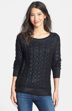 Foiled Cable Knit Sweater (Regular & Petite)