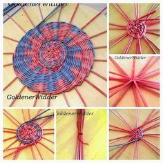 Плетение из газетных трубочек: Круг, Дно, Начало плетения.
