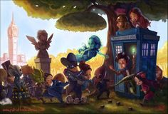 Good thing the TARDIS is bigger on the inside. | 10 Classic Fandoms Imagined As Kids Will Warm Your Heart