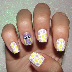 Polka Dots, Yellow, Fav Animal, and Pastels all in one mani! Luv Nails, Crazy Nails, Bling Nails, Really Cute Nails, Pretty Nails, Beautiful Nail Designs, Cute Nail Designs, Polka Dot Nails, Polka Dots