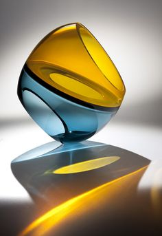 Teal & Yellow Eclipse Blown, cut and polished Art-Glass Sculpture by John Kiley. Blown Glass Art, Sea Glass Art, Stained Glass Art, Fused Glass, Bd Design, Glass Design, Mellow Yellow, Teal Yellow, Glas Art