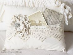 Love this pillow.  I have some nice pieces of crochet lace I could use up making a few pillows like this
