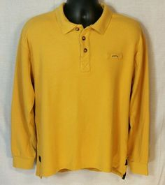 Orvis Dark Gold LS Polo Style Shirt Cotton Sz L #Orvis #PoloRugby