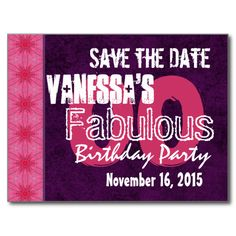 Modern Save the Date Surprise Any Year Purple V10I Postcards $1.45. Visit http://www.zazzle.com/jaclinart/gifts?cg=196097532667403801&ps=120 to see more designs, suitable for any age.  #birthday #party #modern #purple #pink #her #savethedate