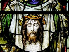 Veil with Image of Christ Stained Glass St. Joseph RC Cathedral NY - Puzzles-Games.eu - puzzles games