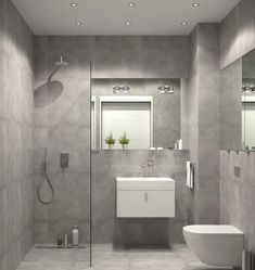 bathroom-furniture-curbless-shower-glass partition wall gray wall tiles