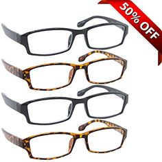 Reading Glasses _ Best 4 Pack_2 Black & 2 Tortoise for Men and Women _ Have a Stylish Look and Crystal Clear Vision When You Need It! _Comfort Spring Arms & Dura-Tight Screws _ 100% Guarantee +2.00  VALUE IS ONLY THE BEGINNING: Aren't you tired of paying steep prices for flimsy glasses that look cheap? Allow your personal style to shine through with 4 Pairs of superbly crafted, ingenious stylishly designer reading glasses. Wearing these reading glasses at home, in bed, at the office, o...