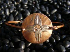 Zia Bracelet. Etched Coin Bracelet. Native American Bracelet. Roadrunner Bracelet. New Mexico Bracelet. Indian Bracelet. ManMadeDesign. ManMade Design. Ancient Bracelet. Custom Zia. Custom Indian