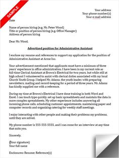 Image result for cover letter for job application for administrative ...