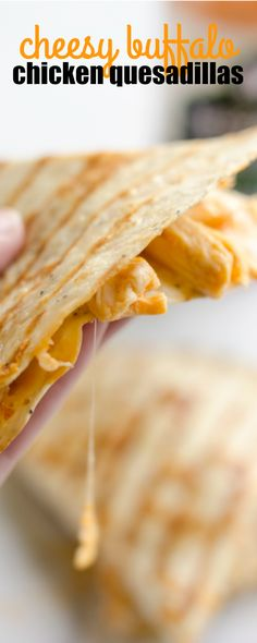 CHEESY BUFFALO CHICKEN QUESADILLAS are an easy 10-minute, 5-ingredient dinner idea you will want to make again and again! via @realhousemoms
