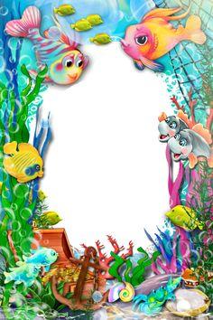 bajo el mar Boarder Designs, Page Borders Design, Disney Frames, Boarders And Frames, Photo Frame Design, School Frame, Birthday Frames, Baby Clip Art, Butterfly Drawing