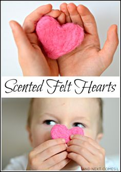 Make DIY scented felt hearts as a Valentine's Day DIY craft project Valentine's Day Crafts For Kids, Valentine Crafts For Kids, Valentines Day Treats, Valentines Day Party, Valentines Day Activities, Kids Learning Activities, Infant Activities, Sensory Activities, Sensory Diet