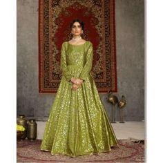Buy Gowns - Discover the wide range of designer gowns online Party Wear Gowns Online, Printed Gowns, Floor Length Gown, Neck Pattern, Designer Gowns, Silk Crepe, Mehendi, Range, Formal
