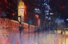 Flinders Street Station  at night by Alvaro Castagnet.