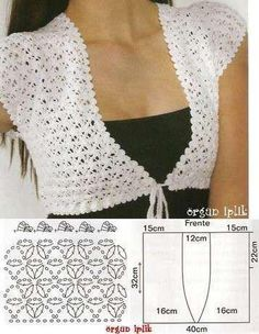 "002 ""This is the pattern:Tecendo Artes em Crochet: Achados da Net"", ""lovely and easy crochet bolero!"", ""bolero crochet pattern, measures can be used Débardeurs Au Crochet, Gilet Crochet, Mode Crochet, Crochet Shirt, Crochet Jacket, Crochet Woman, Crochet Cardigan, Crochet Scarves, Crochet Clothes"