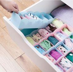 Free shipping new 2014 ikea plastic storage box  underwear organizer 5lattice 4color box for Office