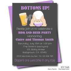Baby Is Brewing BBQ Baby Q Co Ed Chalkboard Baby Shower Invitations For A  Girl | Chalkboard Baby Showers