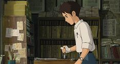 (Edison Duplicating press, Trypograph, Cyclostyle and Hektograph)  Rolling Copies   From Up on Poppy Hill   Studio Ghibli   (gif)