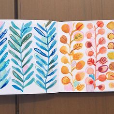 Hot and cold sketchbook pages #sketchbook #surfacedesign #surfacepattern #laura_may_designs #watercolour #paint #doodle #draw #leaves #blue