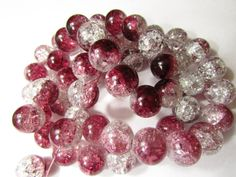 10 Crackle Glass Beads, Hot Pink & Clear Color, Large 14mm- Jewelry Making- Bracelet, Necklace, Earrings  $1.29