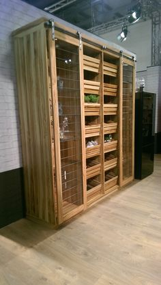 Kitchen open cabinets with storage crates Open Cabinets, Crate Storage, Larder, Kitchen, Room, Furniture, Home Decor, Open Closets, Bedroom