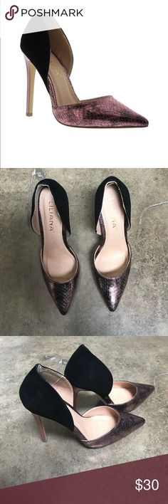 "Pointy Toe Pump in Blush & Black Faux suede on heel about 4.5"" Shoes Heels"