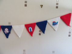 nautical bunting, playroom bunting, nursery bunting, nursery decor, cute bunting, themed bunting, party bunting, knitted bunting, by TheCraftingGardener on Etsy Nautical Bunting, Nursery Bunting, Party Bunting, Nautical Theme, Nursery Decor, Knitted Bunting, Colorful Decor, Birthday Party Themes, Hand Stitching
