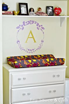 Fry Sauce and Grits Art Nouveau and Eclectic Nursery with Wallternatives vinyl wall decal frame and monogram letter initial
