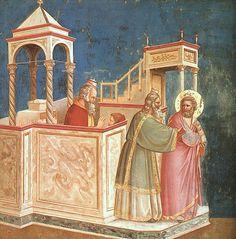 "GIOTTO: ""San Joaquín, expulsado del Templo"". Capilla Scrovegni (Padua). ESTILO ITALO-GÓTICO (Trecento)."