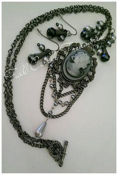 "Handmade cameo necklace, steampunk, vintage style, antiqued, original design, OOAK, elegant, 24"" Cameo necklace & 1 1/2"" Drop earrings"