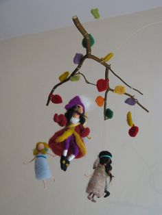 Peter pan and his friends needle felted mobile on Etsy, $165.00