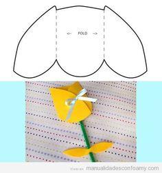 Tulipán de goma eva fácil, con plantilla para descargar